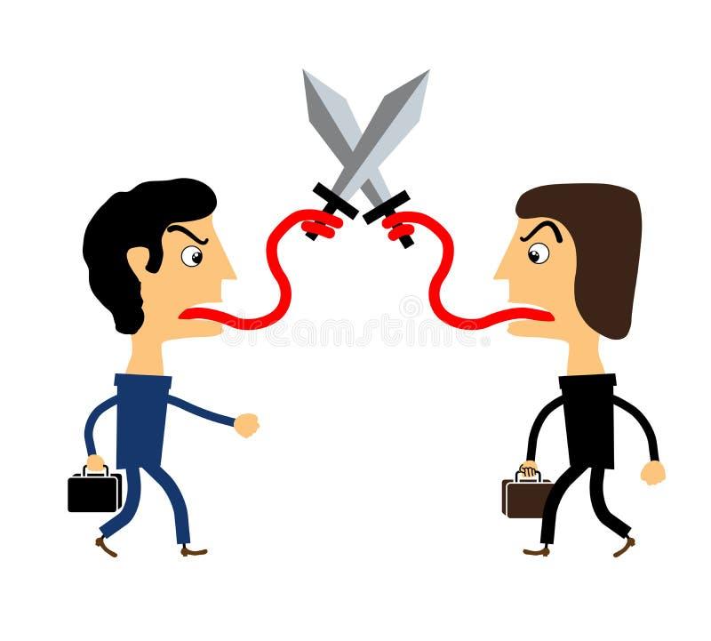 Dois povos que lutam com suas línguas ilustração do vetor