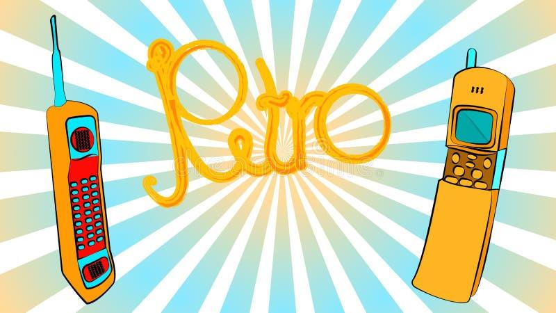 dois primeiros telefones celulares do quadrado retro retro velho do vintage do moderno do botão do ouro amarelo com antena e slid ilustração stock