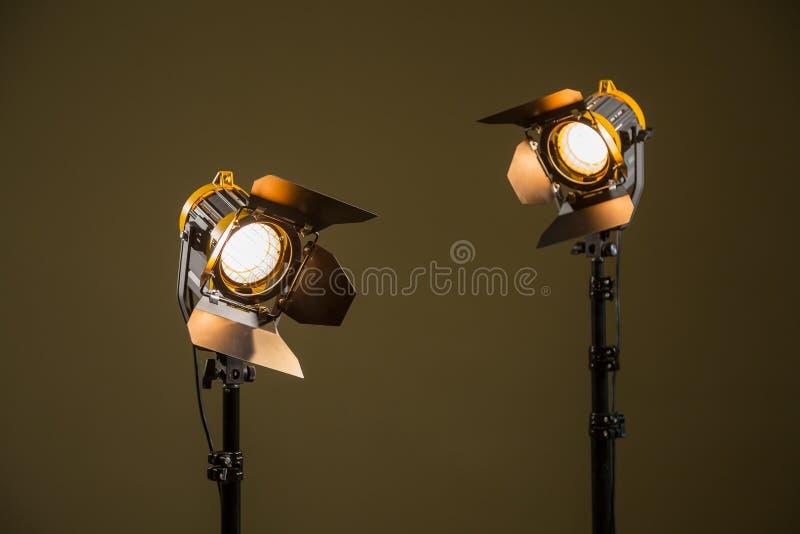 Dois projetores do halogênio com lentes de Fresnel fotos de stock royalty free