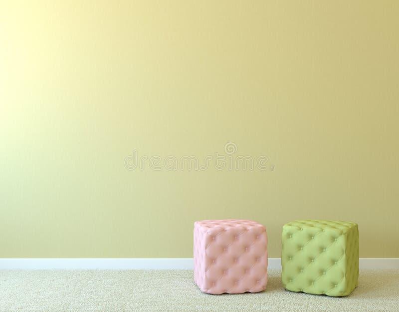 Dois pufes perto da parede vazia.