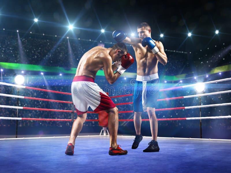 Dois pugilistas do professionl estão lutando na arena fotografia de stock royalty free