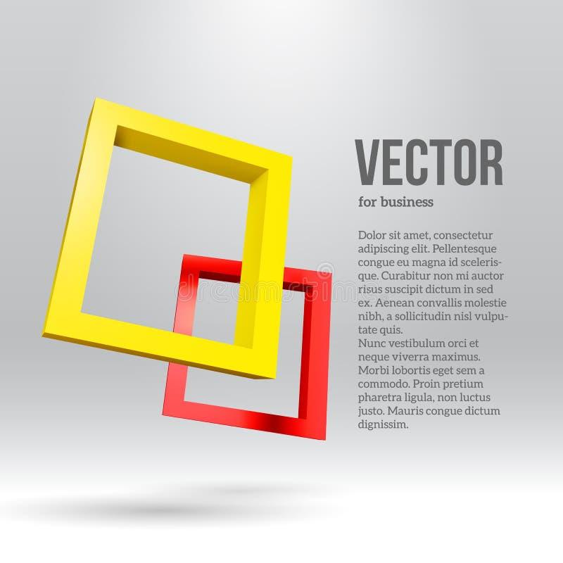 Dois quadros 3D retangulares coloridos ilustração do vetor