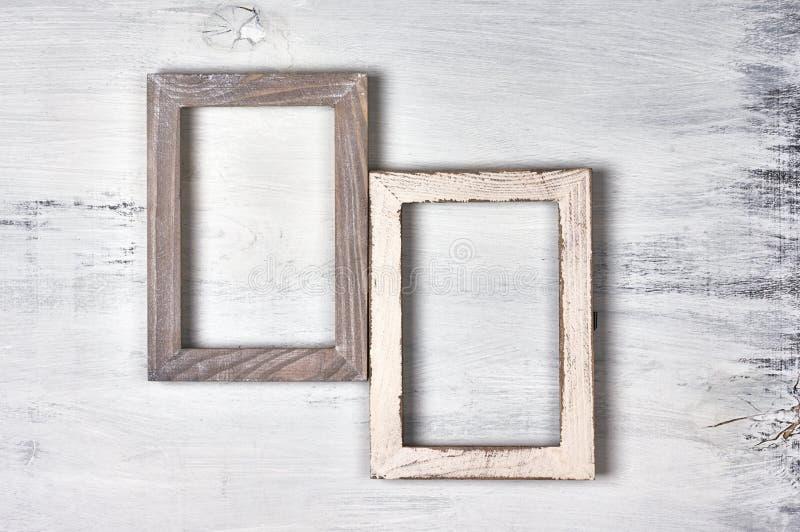 Dois quadros de madeira da foto imagens de stock royalty free