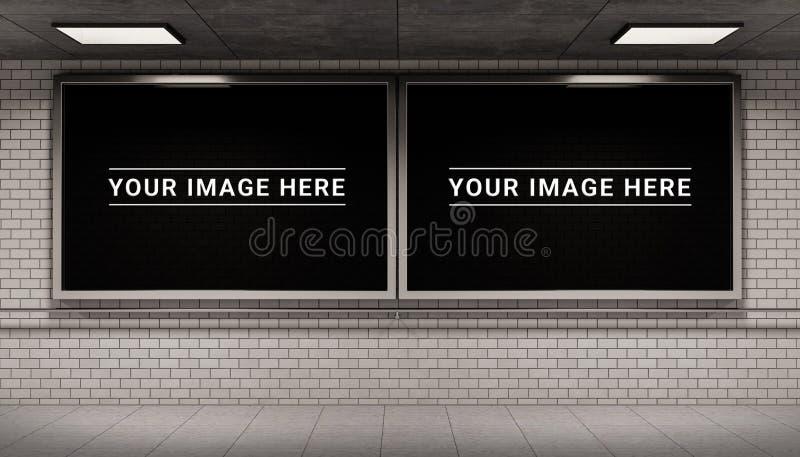 Dois quadros dos quadros de avisos na rendição subterrânea do modelo 3D da estação de metro ilustração royalty free