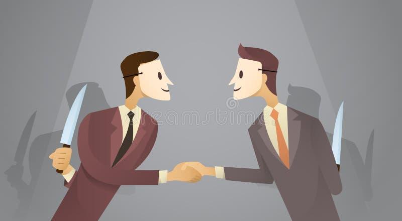 Dois que homem de negócio na máscara agita a faca da posse das mãos, perigo traem o conceito do acordo ilustração stock