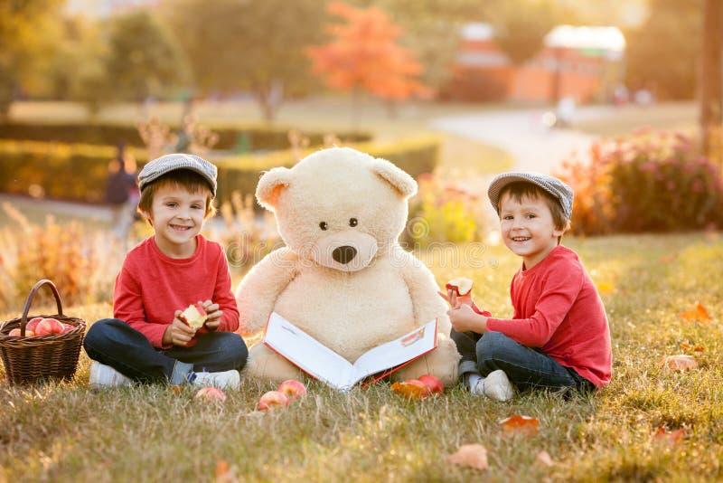 Dois rapazes pequenos adoráveis com seu amigo do urso de peluche no parque fotos de stock royalty free