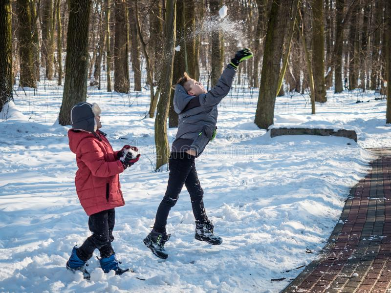 Dois rapazes pequenos jogam a neve acima e têm o divertimento no parque do inverno imagem de stock royalty free