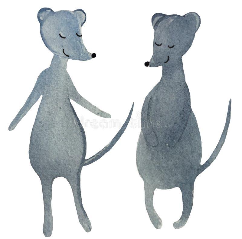 Dois ratos de dança dos desenhos animados em um fundo branco ilustração da aquarela para o projeto dos cartazes, cópias, cartões, foto de stock