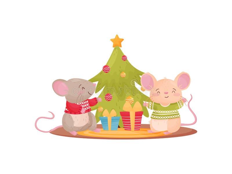 Dois ratos humanizados ao lado da árvore e dos presentes de Natal Ilustra??o do vetor no fundo branco ilustração do vetor