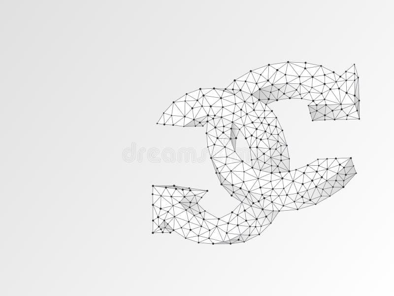 Dois refrescam o símbolo circular das setas Do vetor digital do sumário de Wireframe origâmi poligonal 3d Baixo poli, repete, ref ilustração royalty free