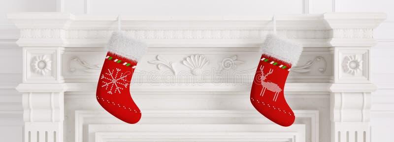 Dois rendição vermelha das meias 3d do Natal ilustração royalty free