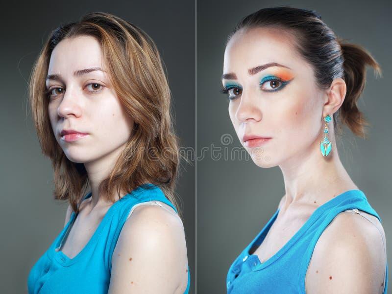 Dois retratos fêmeas do estúdio antes e depois imagens de stock royalty free