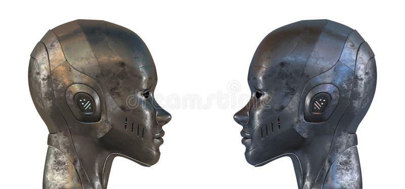 Dois robôs de aço iguais no perfil ilustração stock