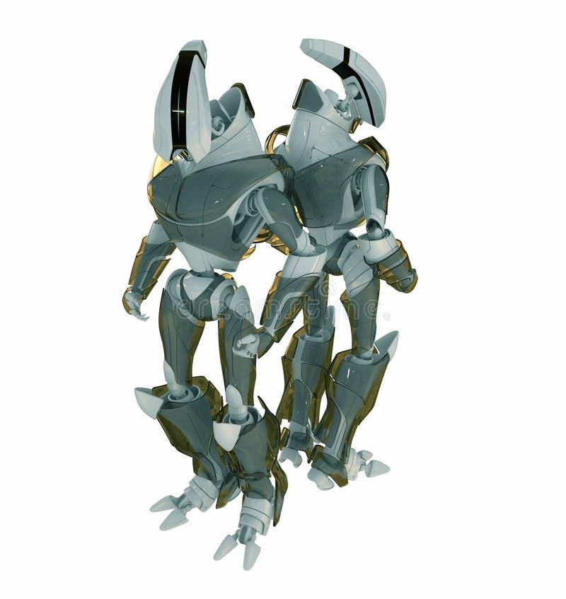 Dois robôs de volta à parte traseira ilustração do vetor
