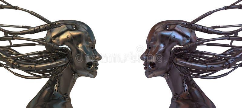 Dois robôs prendidos no branco ilustração do vetor