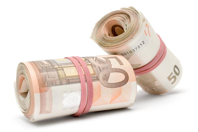 Dois Rolls de euro- contas imagem de stock royalty free