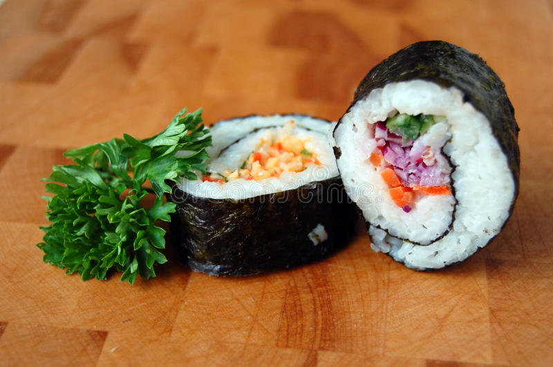 Dois rolos de sushi fotos de stock royalty free