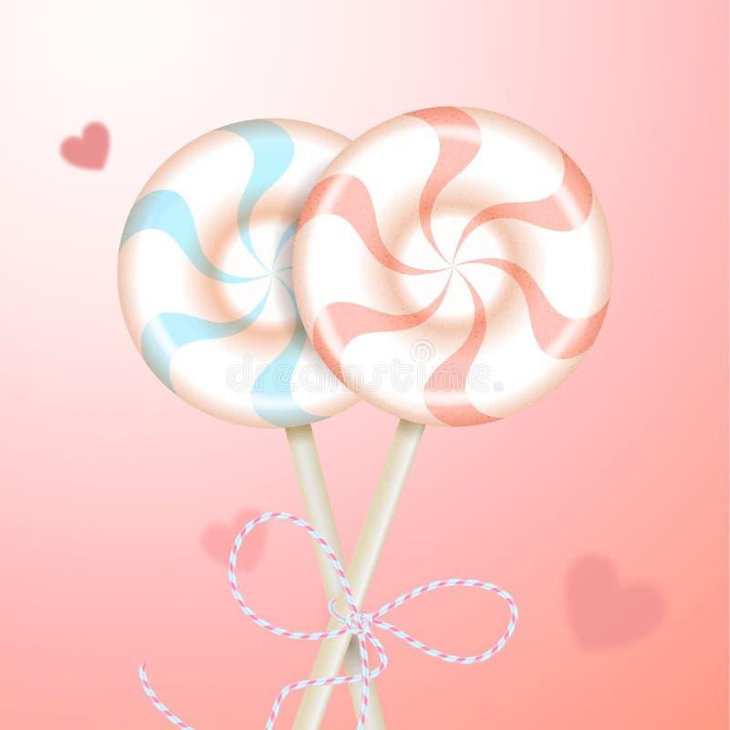 Dois rosa pastel listrado redondo e azul colorem pirulitos com fita decorativa e corações borrados Doces dos pares sobre ilustração do vetor