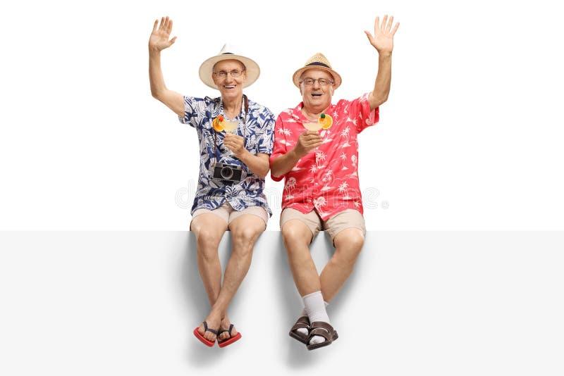 Dois sêniores do cheerfull que guardam cocktail e ondulação imagem de stock royalty free