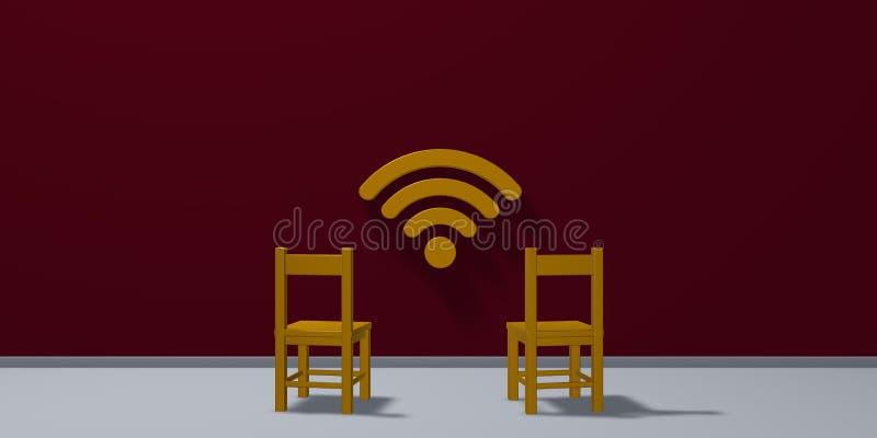 Dois símbolos das cadeiras e do wifi ilustração royalty free