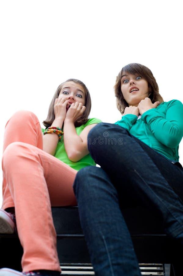 Dois scared meninas bonitas imagens de stock royalty free