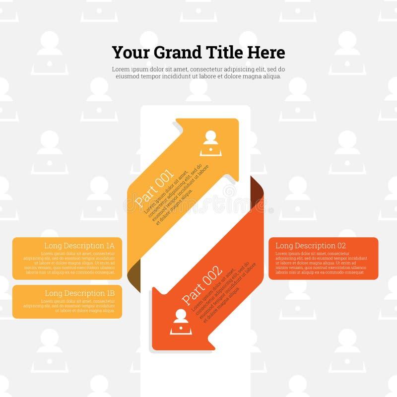 Dois seta contínua Infographic ilustração stock