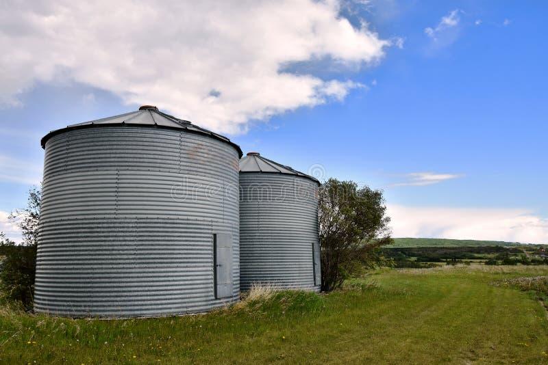 Dois silos do escaninho da grão fotografia de stock royalty free