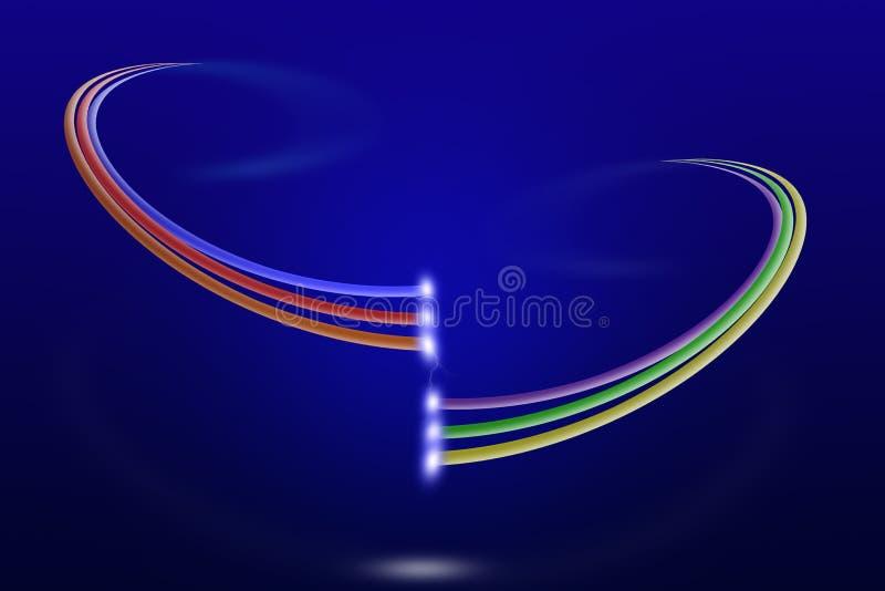 Dois sistemas de multi cabos de fibra ótica coloridos com luz no fundo azul ilustração do vetor