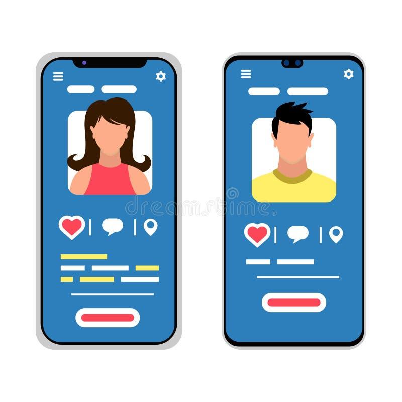 Dois smartphones com as silhuetas masculinas e fêmeas Meios sociais, conceito móvel do mensageiro ilustração stock