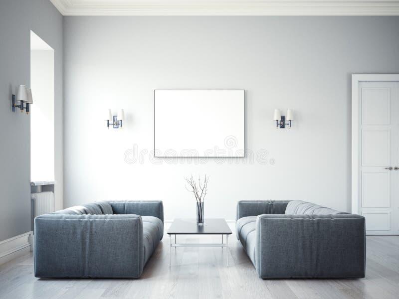 Dois sofás cinzentos no interior com uma moldura para retrato 3d que renering imagens de stock