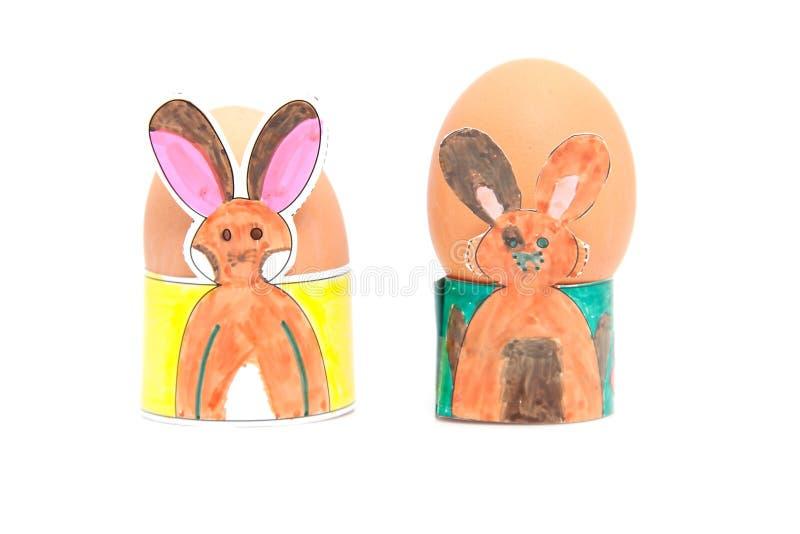 Dois suportes do ovo de easter feitos por crianças fotos de stock royalty free