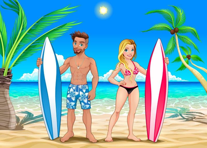 Dois surfistas na praia ilustração royalty free