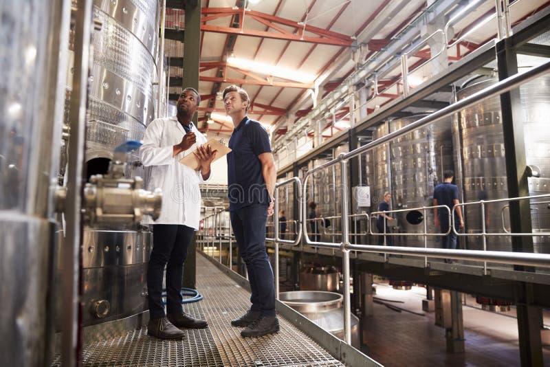 Dois técnicos masculinos que trabalham em uma fábrica do vinho, baixo ângulo imagens de stock