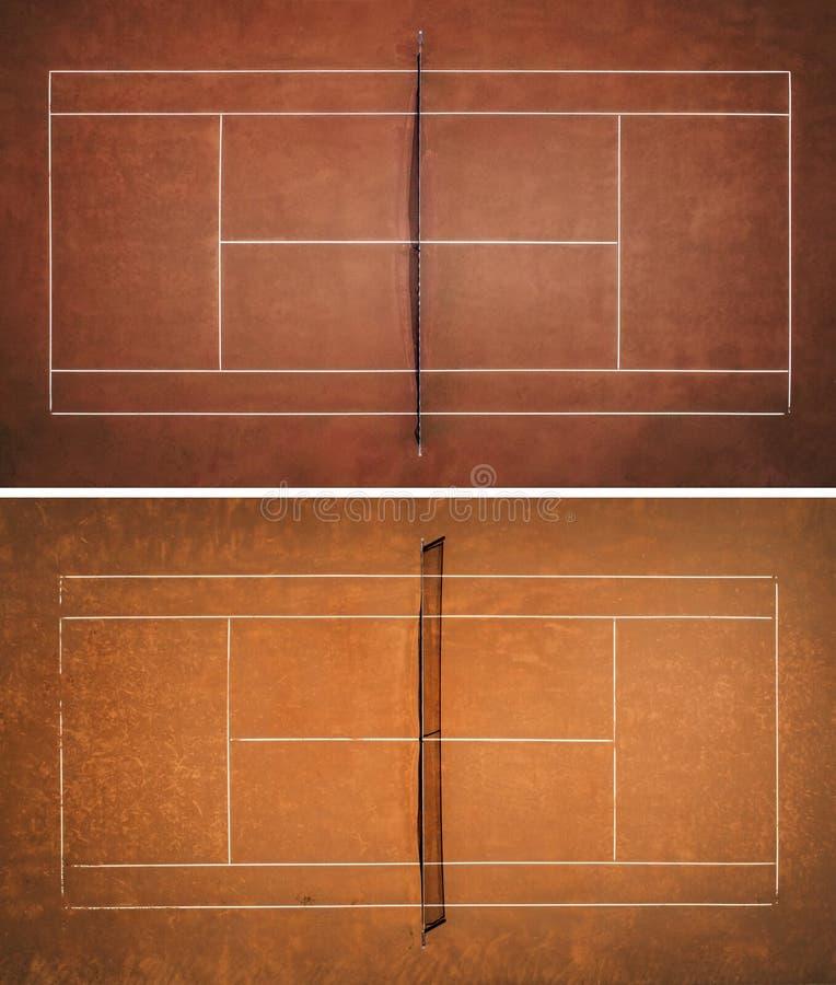 Dois tênis Clay Courts Vista do voo do ` s do p?ssaro imagem de stock