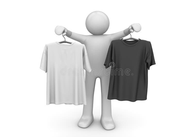 Dois t-shirt em ganchos de roupa - estilo de vida ilustração stock