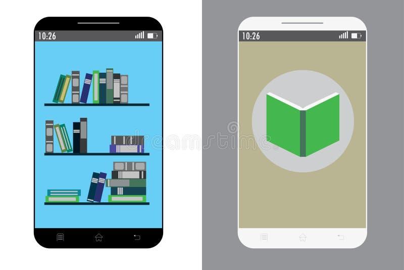 Dois telefones celulares com aplicação do livro na tela ilustração do vetor
