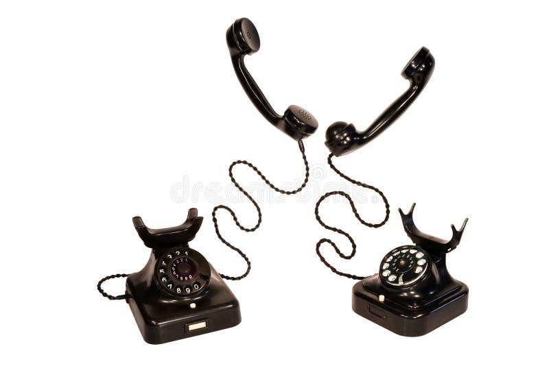 Dois telefones pretos do vintage imagens de stock royalty free