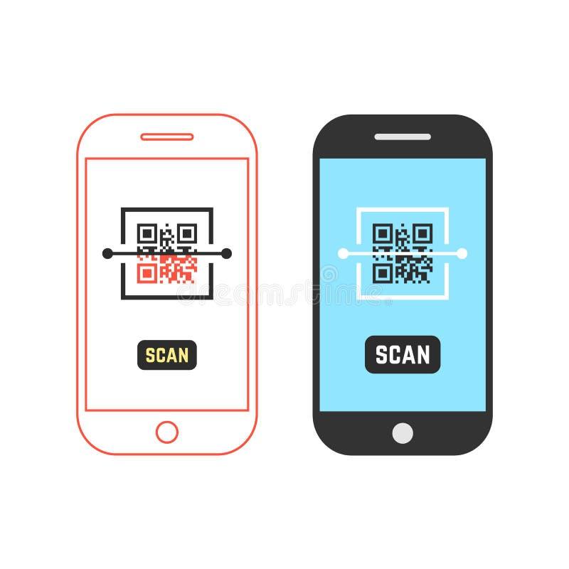 Dois telefones que fazem a varredura do código do qr ilustração royalty free