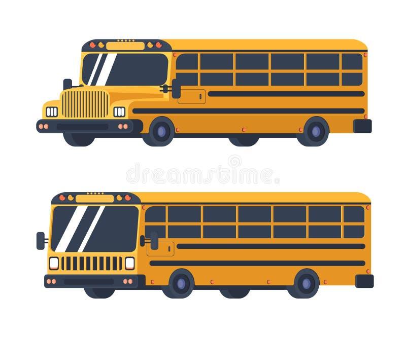 Dois tipos de ônibus escolar isolados no branco Veículo para o transporte dos estudantes e dos alunos De volta à escola ilustração do vetor