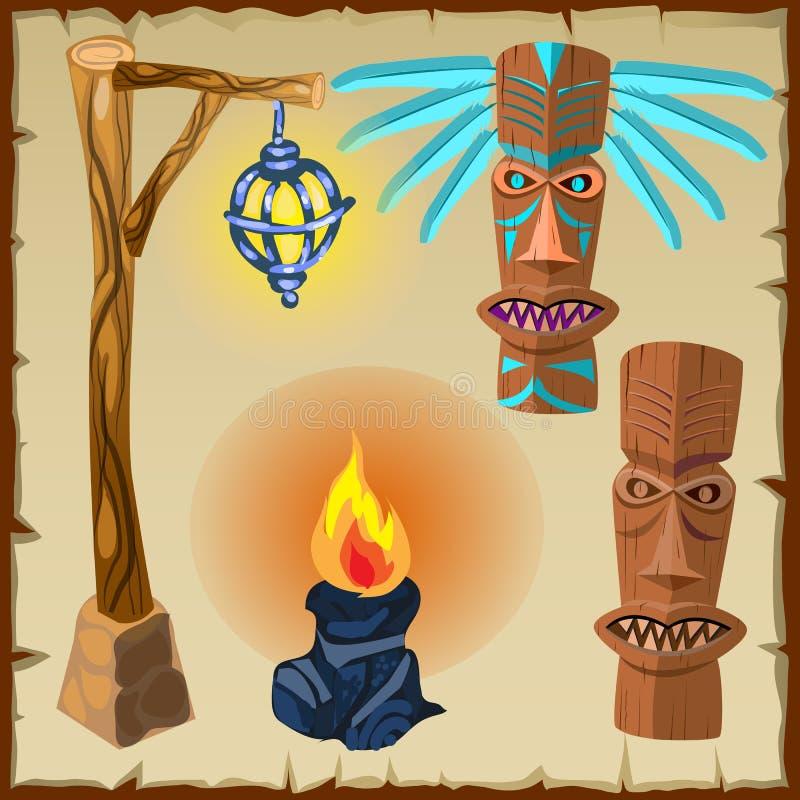 Dois totens, fogos e lanternas, símbolos antigos ilustração do vetor