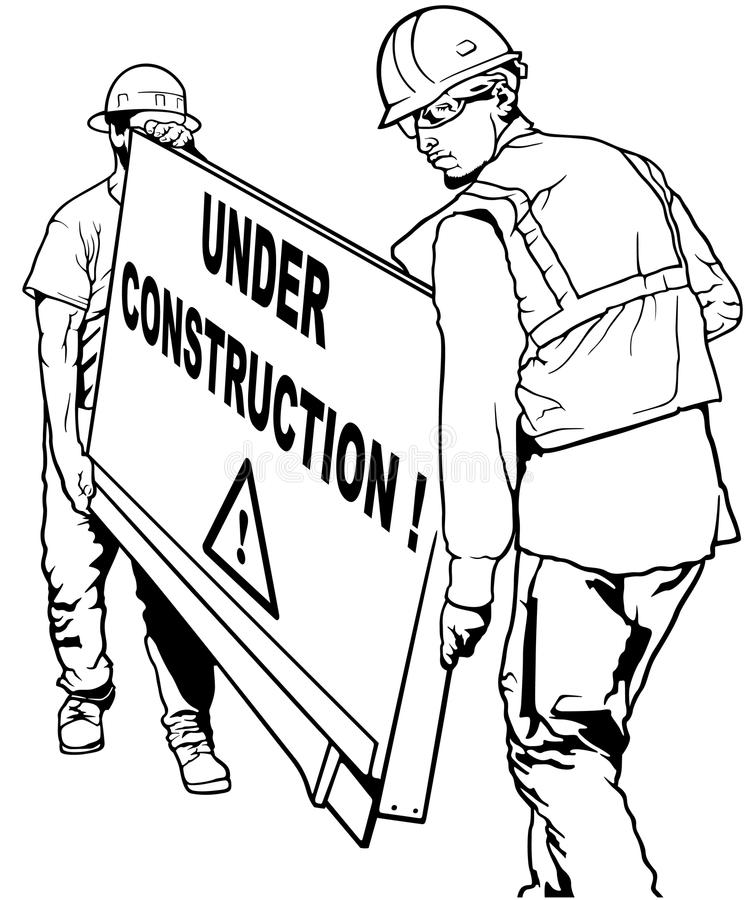 Dois trabalhadores de construção que levam a placa de madeira ilustração do vetor