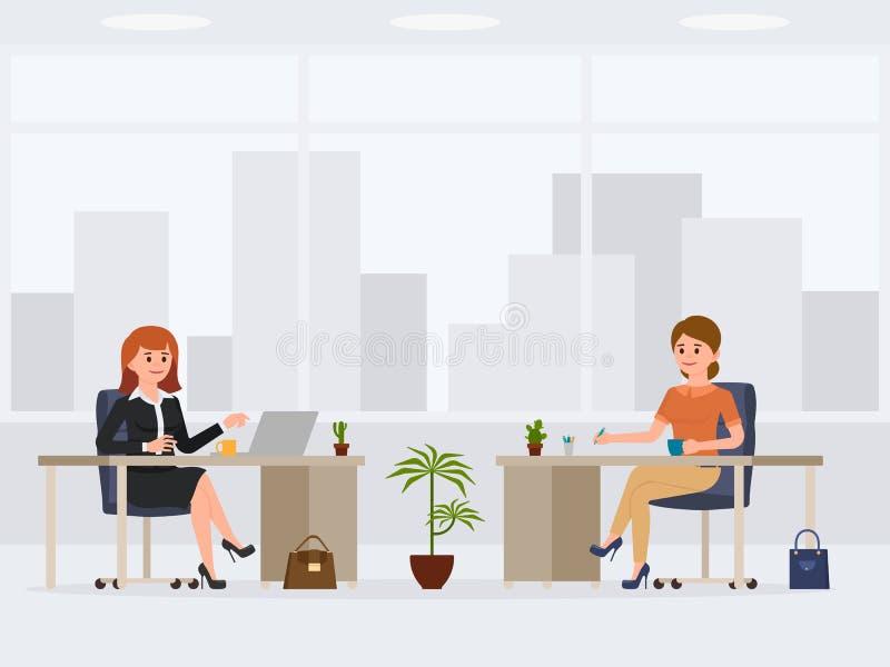 Dois trabalhadores de escritório fêmeas no personagem de banda desenhada das mesas Local de trabalho ocupado dos colegas de traba ilustração royalty free