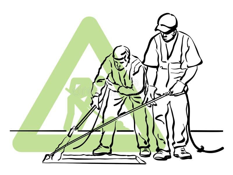 Dois trabalhadores do asfalto ilustração royalty free