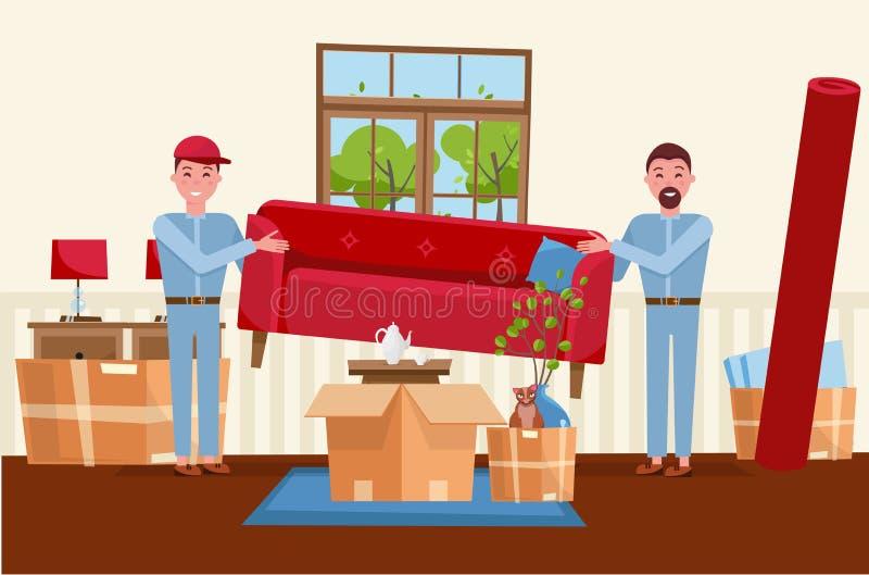 Dois trabalhadores dos homens estão levando um sofá vermelho Caixas moventes na casa nova Interior da sala de visitas da casa Pil ilustração royalty free
