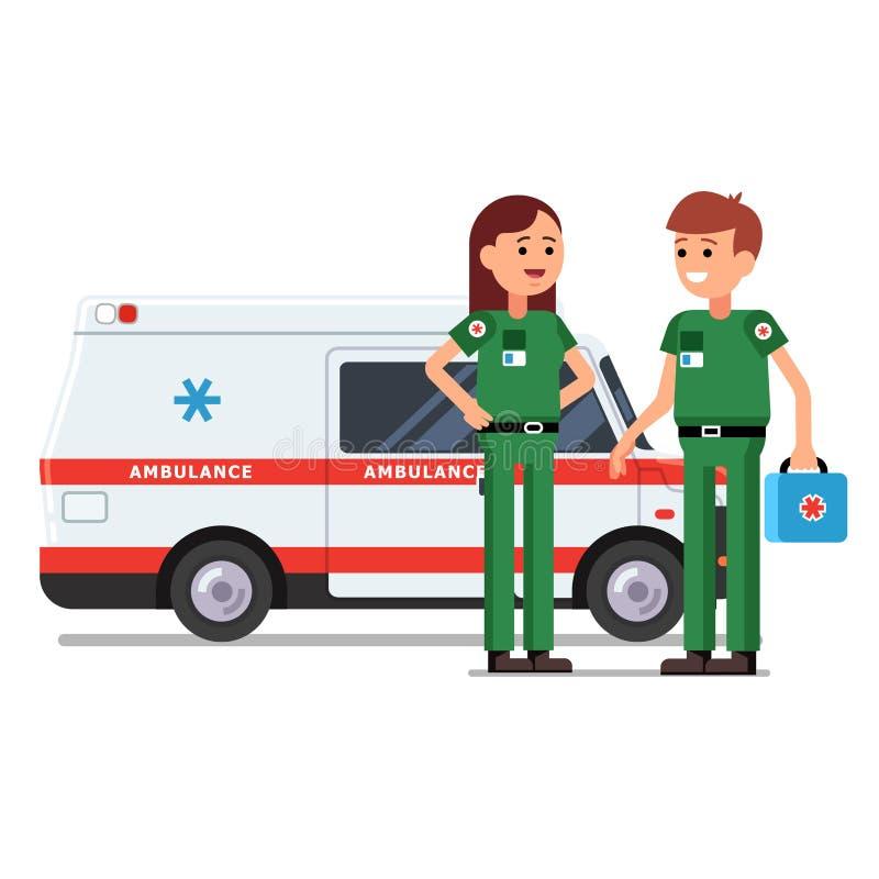 Dois trabalhadores dos paramédicos na frente do carro da ambulância ilustração do vetor