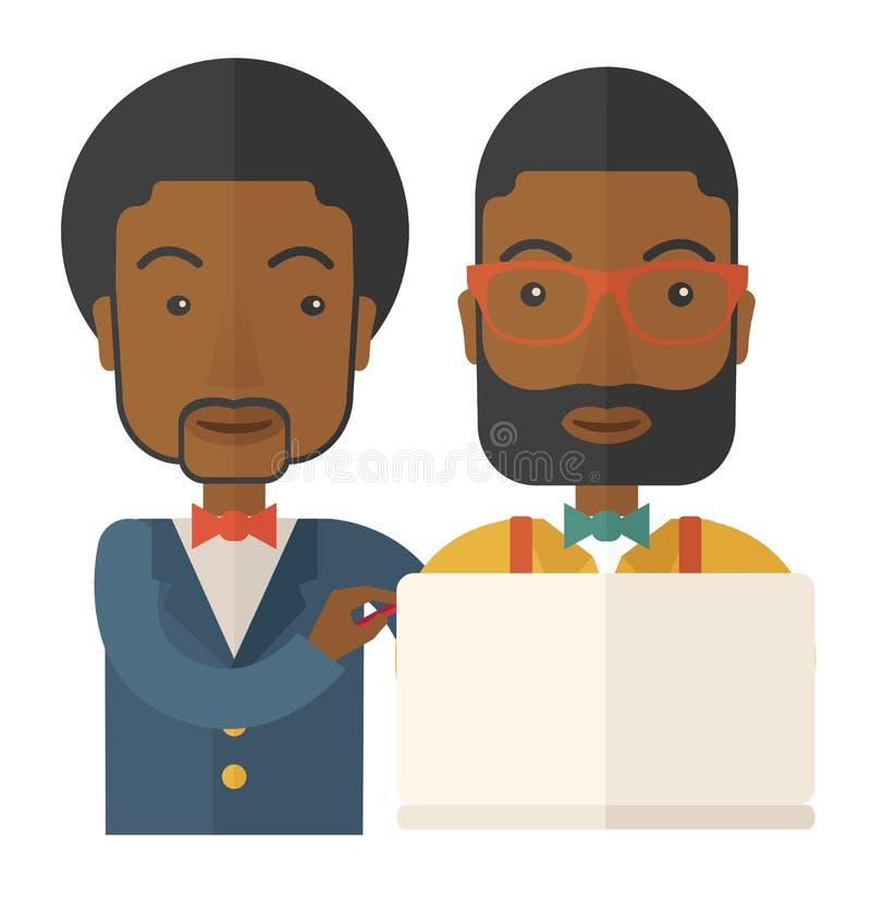 Dois trabalhadores pretos que usam o portátil ilustração stock