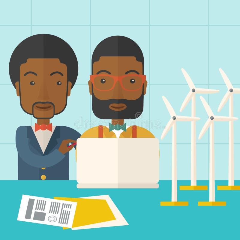 Dois trabalhadores pretos que usam o portátil com moinhos de vento ilustração stock