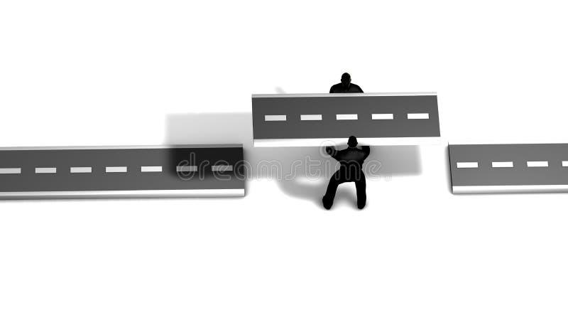 Dois trabalhadores puseram uma fatia nova de estrada que junta-se a duas estradas existentes imagens de stock
