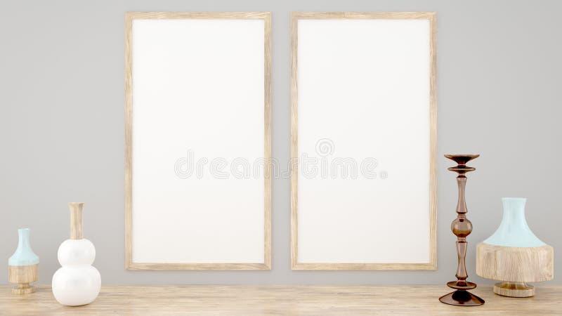 Dois trocistas acima do quadro do cartaz, estilo escandinavo, 3D rendem, a rendição 3D ilustração do vetor
