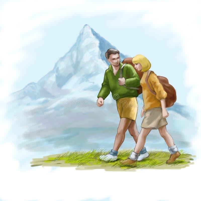 Dois turistas ilustração do vetor